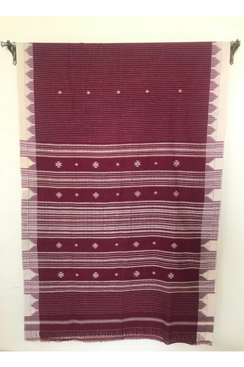 Kotpad' Tribal Odisha Handloom Cotton Maroon with Offwhite Saree
