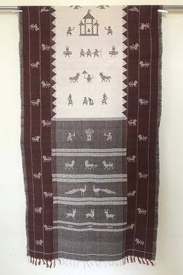 Kotpad' Tribal Odisha Handloom Cotton Isothermal Off white with Coffee Shawl