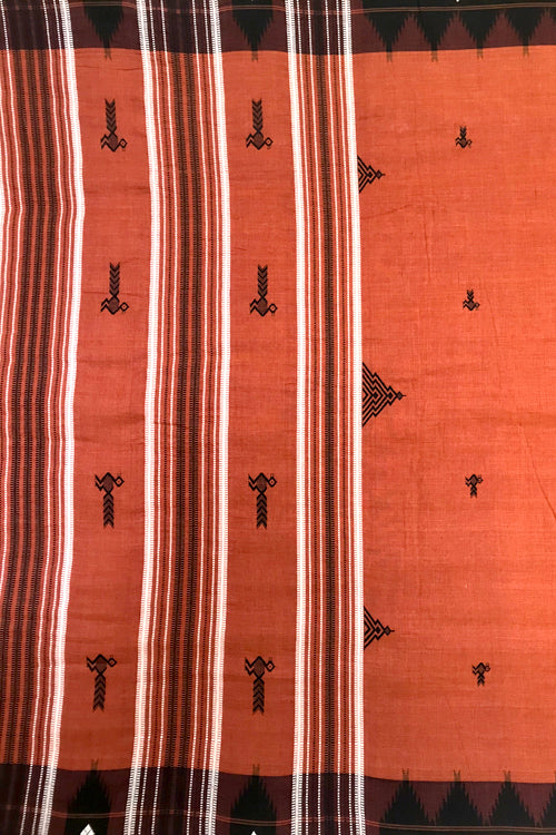 Kotpad' Tribal Odisha Handloom Cotton Orange with Navy blue Border Saree