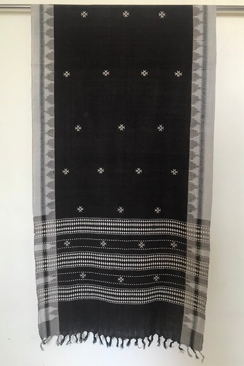 Kotpad' Tribal Odisha Handloom Cotton Isothermal Coffee and Off white Shawl