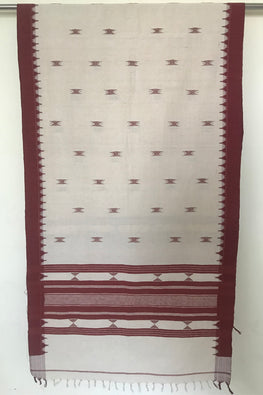 Kotpad' Tribal Odisha Handloom Cotton Isothermal Offwhite and Maroon and Off white Shawl