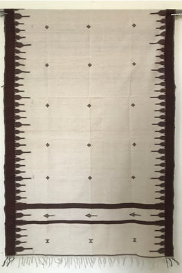 Kotpad' Tribal Odisha Handloom Cotton Isothermal Shawl-Color-Offwhite and Maroon and Off white