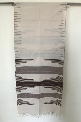 Kotpad' Tribal Odisha Handloom Cotton Isothermal Shawl-Color-Offwhite and Coffee