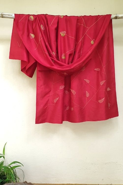 2up 2down-Hand crafted Silk Shibori Embroidered Material
