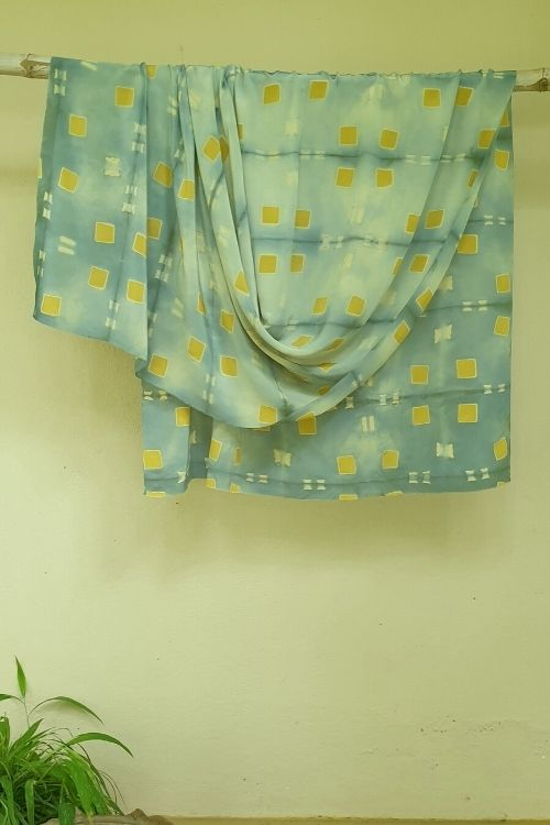 2up 2down-Hand crafted Silk Shibori Material