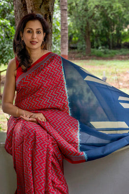 2up 2down Hand Embroidered Red & Indigo Bangalore Silk Sari Online Shibori Saree Online
