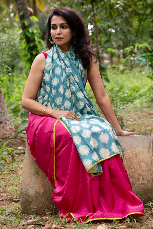 2up 2down Hand Embroidered Pink & Sea Green Bangalore Silk Sari Online