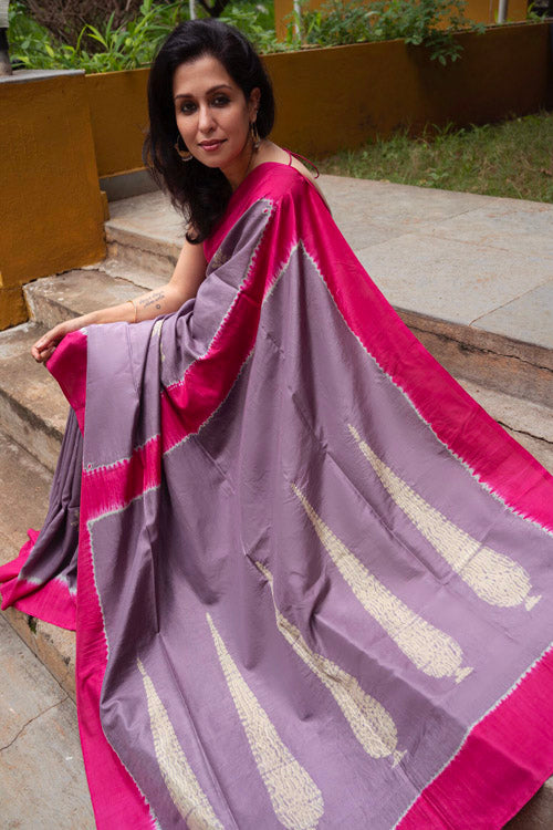 2up 2down Hand Embroidered Lavender & Pink Bangalore Silk Sari Online