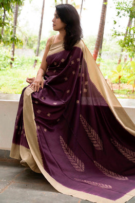 2up 2down Hand Embroidered Wine & Beige Gold Bangalore Silk Sari Online Shibori Saree Online