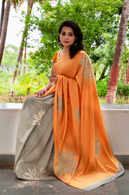 2up 2down-Hand crafted Silk Shibori Sari-28