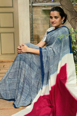 2up 2down-Hand crafted Silk Printed & Shibori Sari-3