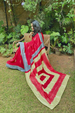 2up 2down-Hand crafted Silk Shibori Sari-5