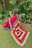 Hand Embroidered Handcrafted Red & Gold Saree Online Habutai Silk Sari Online