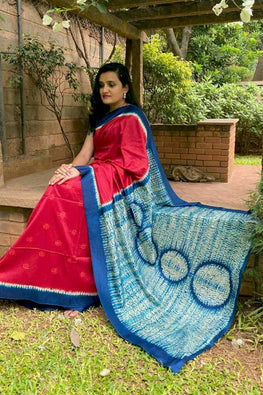 2up 2down-Hand crafted Silk Shibori Sari-6