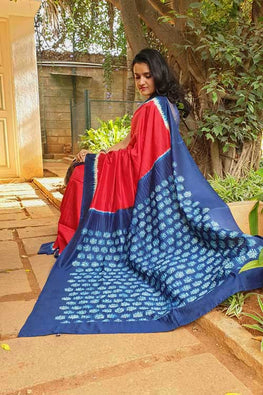 2up 2down-Hand crafted Silk Shibori Sari-7