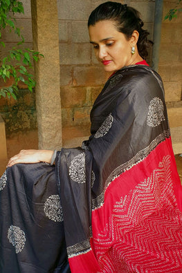 2up 2down-Hand crafted Silk printed & Shibori Sari-8