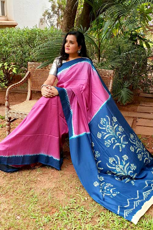 2up 2down Hand Embroidered Indigo & Pink Bangalore Silk Sari Online