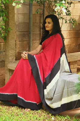2up 2down-Hand crafted Silk Shibori Sari-9