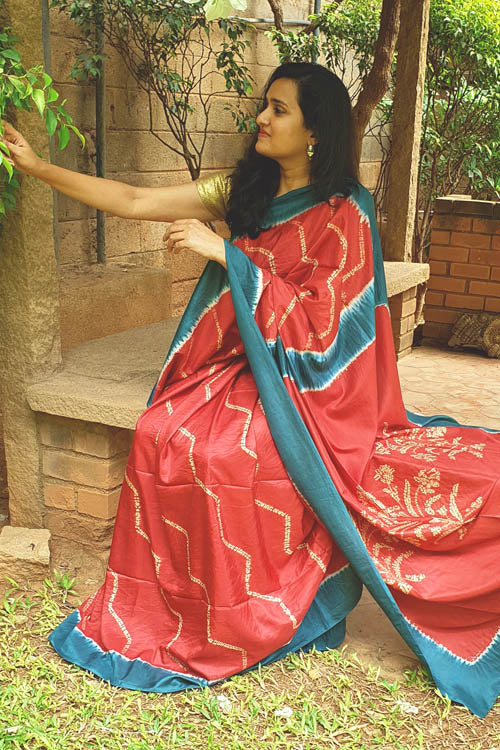 2up 2down Hand Embroidered Rust & Emerald Bangalore Silk Sari Online