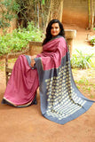 2up 2down Hand Embroidered Jamun & Charcoal Bangalore Silk Sari Online