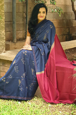 2up 2down-Hand crafted Silk Embroidered Shibori Sari-13