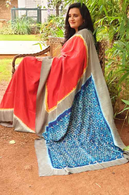 2up 2down-Hand crafted Silk Embroidered Shibori Sari-14