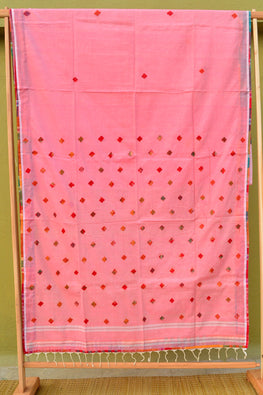 Tant Vastra' Gamcha Patch Work On Soft Bengal Cotton Handloom Saree