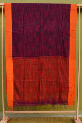 Tant Vastra' Bengal Handloom Space Dyed Cotton Purple Saree