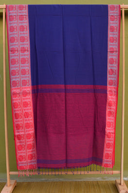 Tant Vastra' Bengal Handloom Traditional Owl Designed Red & Blue Cotton Saree.
