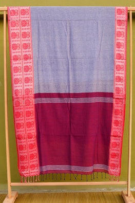Tant Vastra' Bengal Handloom Traditional Owl Designed Grey &Red Cotton Saree.