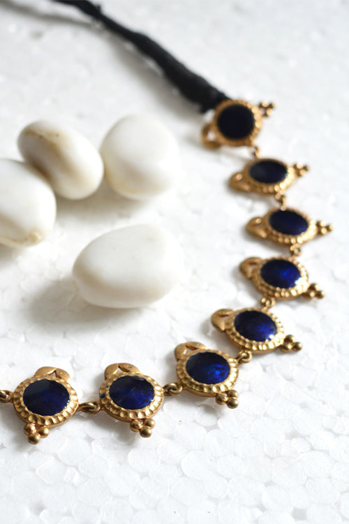 Tant Vastra' Handcrafted Jewelry Dull Gold & Blue.