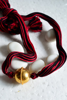 Tant Vastra' Handcrafted DesignerRed Gold Combo Jewelry.