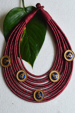 Tant Vastra' Spritual Collared Maroon Handcrafted Jewelry
