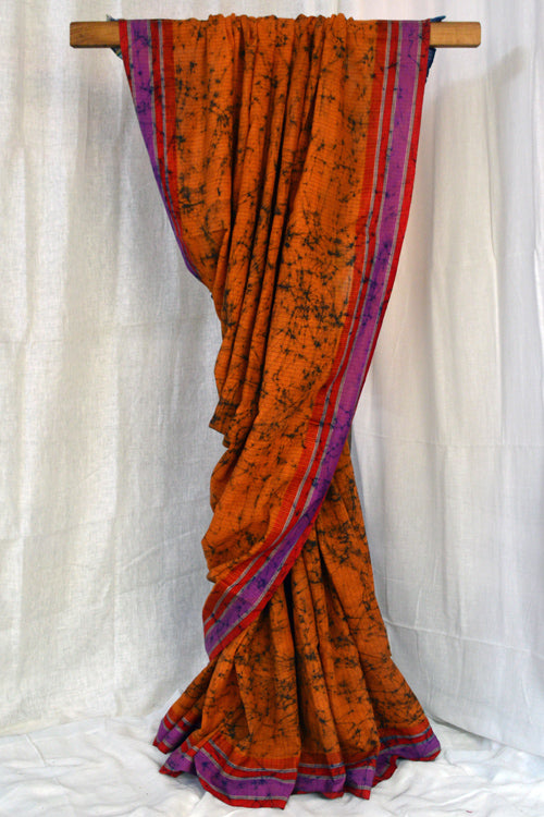 Okhai Batik Design On Soft Pure Cotton Saree With Gamcha Pallu Online