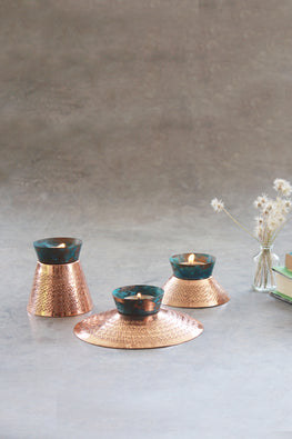 Okhai Teal Copper Tea Light Candle Holder Online