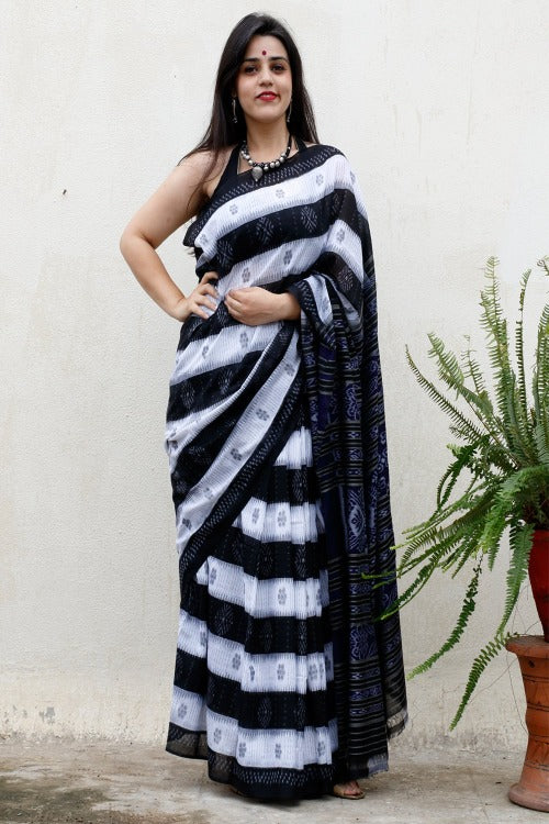 Traditional Ikat Cotton Saree - Black & White - The India Craft House