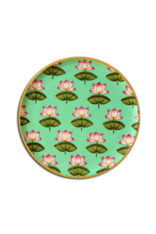 "Trovecraft 8"" Handpainted Pichwai Mint-Green Lotus Décor Plate"