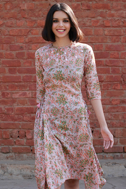 Okhai 'Forest Flower' Block Print Cotton Mul Dress