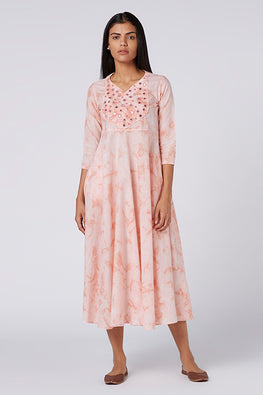 Okhai 'Sakura' Mirror Work Tie-Dye Cotton Dress
