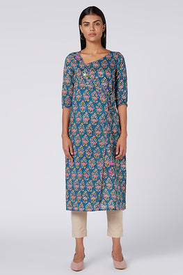 Okhai 'VeronIca' Embroidered Cotton Hand Block Print Kurta