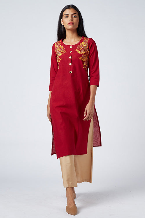 Okhai 'Phoenix' Embroidered Cotton Handloom Kurta
