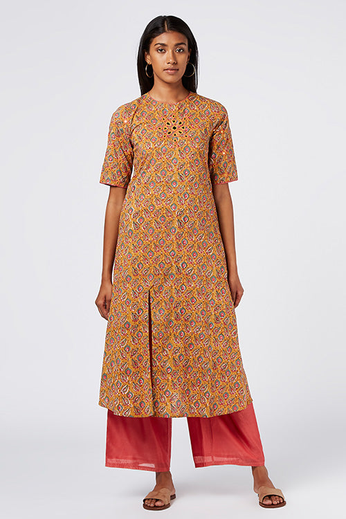 Okhai 'Gold Dust' Cotton Hand Block Print Kurta