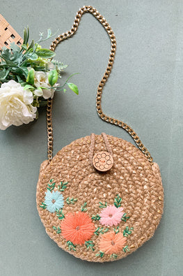 Dhaaga Handcrafts-Round double side rosegold pastel floral & Cyan shell tassel sling bag