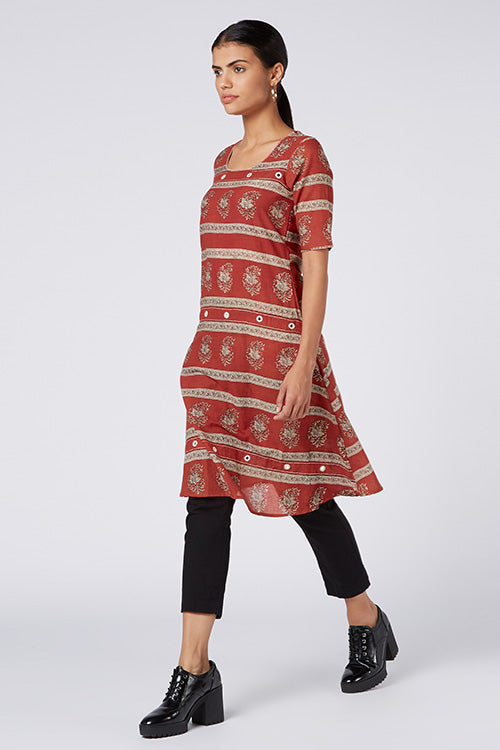 Okhai 'Wanderer' Mirror Work Cotton Hand Block Print Kurta
