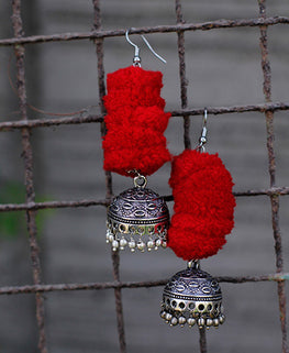 Okhai 'Festive' Red Pom-Pom Earrings