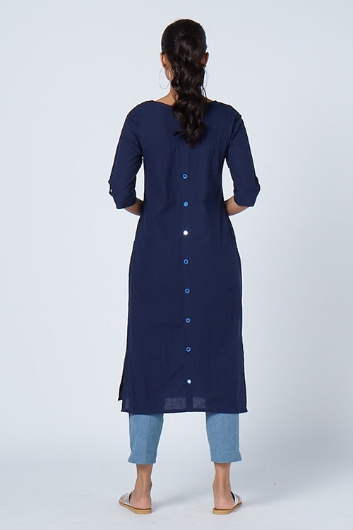 Okhai 'Dew Drops' Embroidered Cotton Kurta