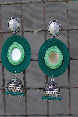 Okhai 'Ethnic Glam' Green Handmade Earrings