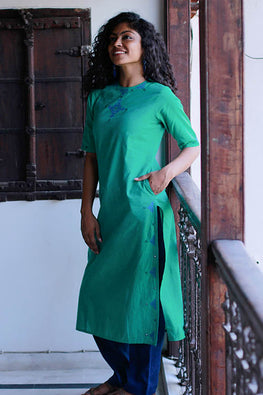 "Okhai ""The Stargazer"" Embroidery Work Kurti"