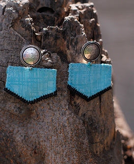 Okhai 'Minimal' Blue Handmade Earrings