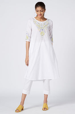 Okhai 'Serene Fragrance' Embroidered Cotton Cambric Dress